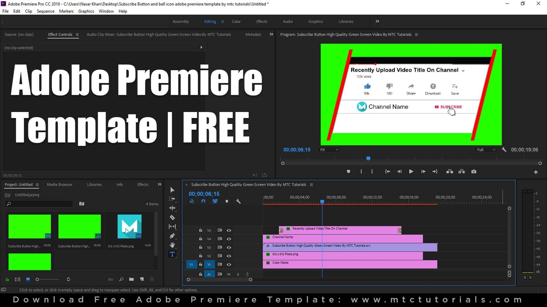 Download Free Subscribe Button and Bell Icon Intro Adobe