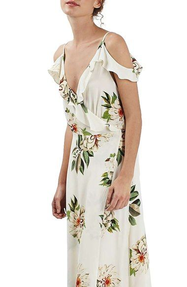 9890d7db1a5 Topshop Floral Print Ruffle Cold Shoulder Wrap Maxi Dress available at   Nordstrom