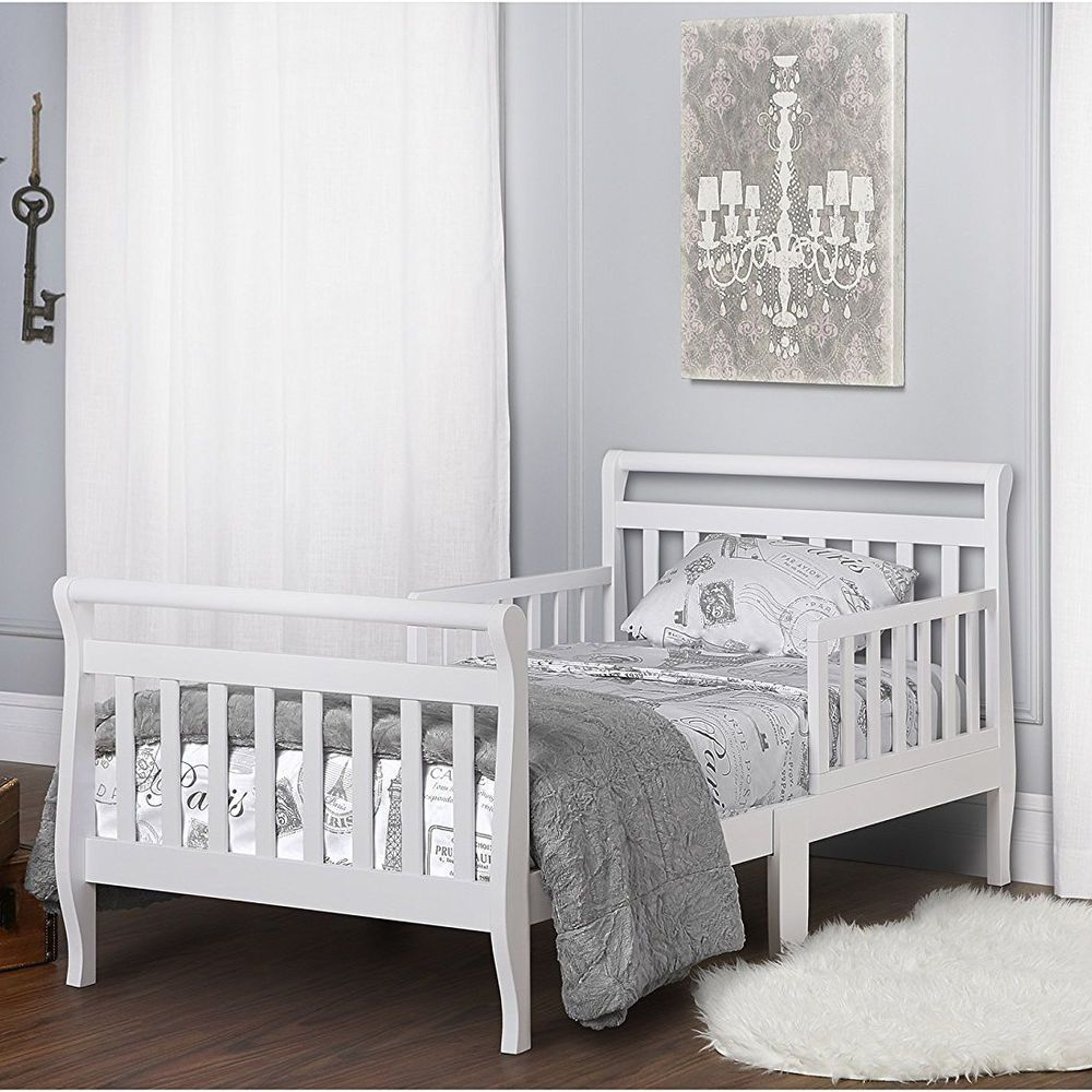 Turn crib into toddler loft bed  Solid Wood Toddler Bed Sturdy Bedroom Girl  Safety Rails Non Toxic