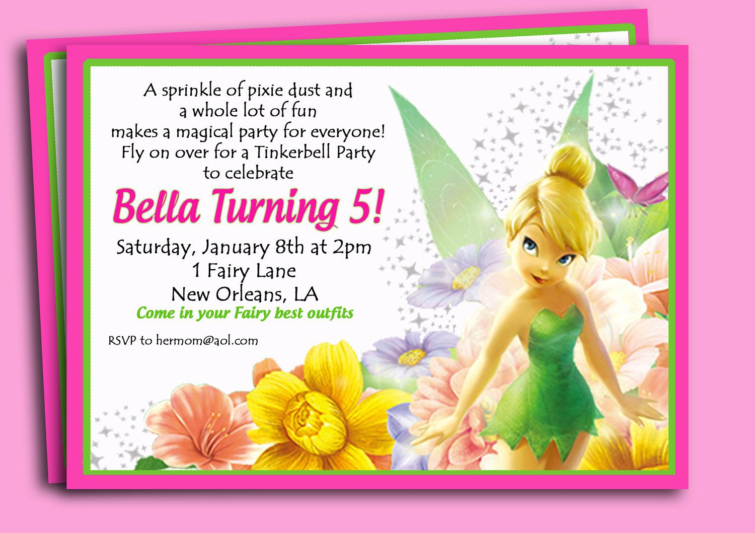 Invitation Wording Option Tinkerbell Party