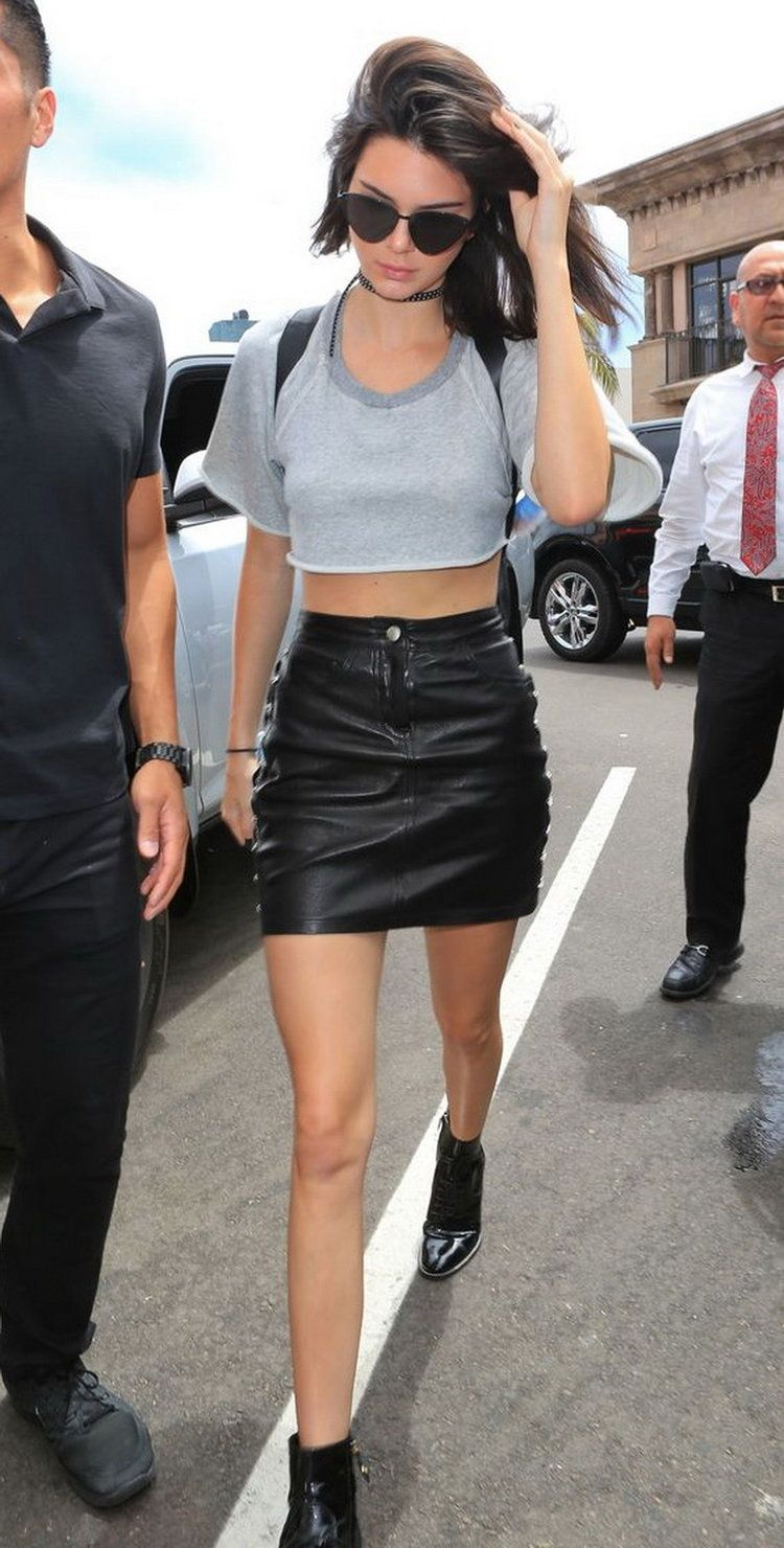 f570927372b Kendall Jenner makes leather work for warm weather by balancing a judicious  use of the heavy