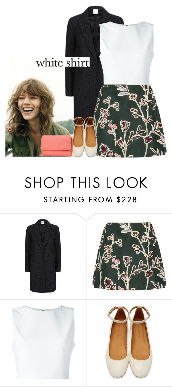 """""""White, Green and Coral"""" by africagirls ❤ liked on Polyvore featuring Moschino Cheap & Chic, Marni, Alice + Olivia, Isabel Marant, whiteshirt and WardrobeStaples"""