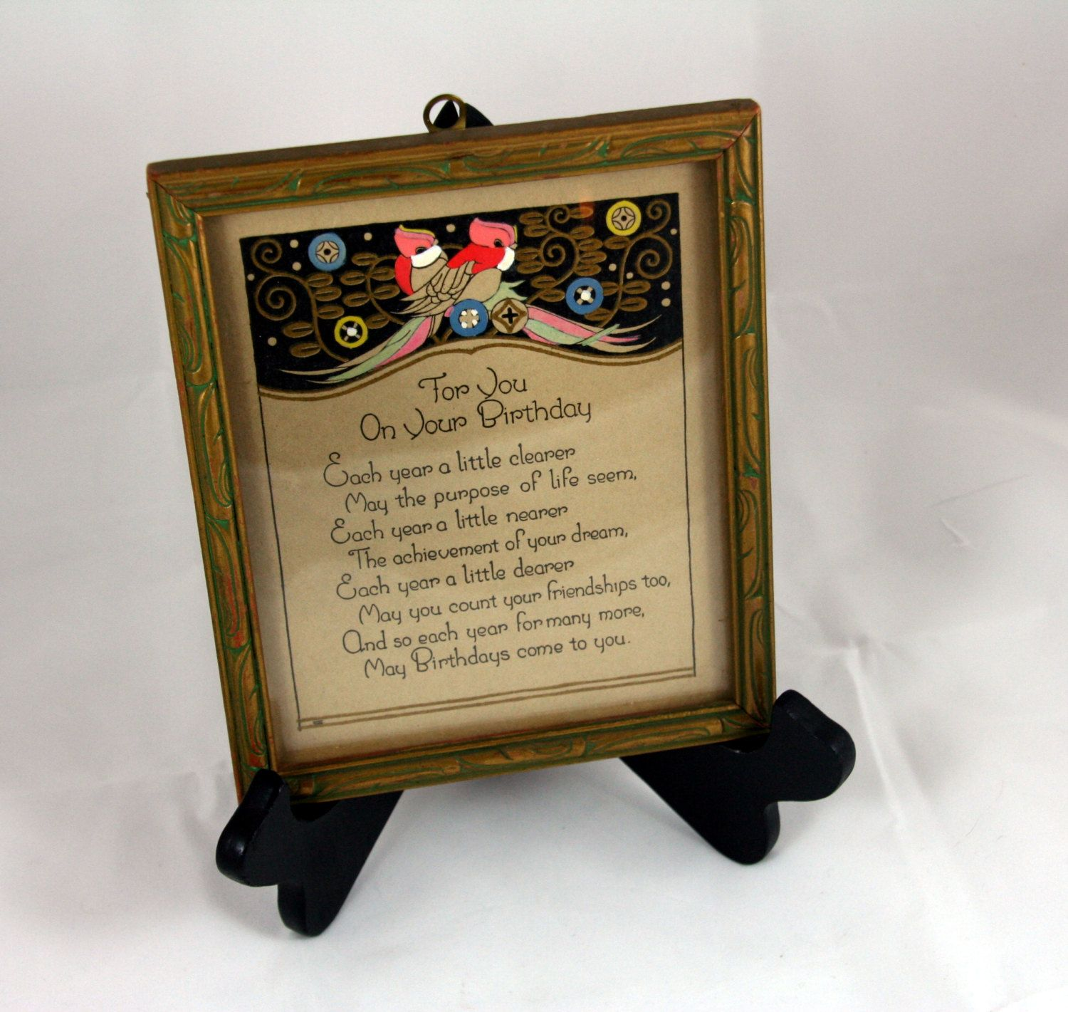 Framed poetry-antique Birthday poem-small framed art-For You on Your ...