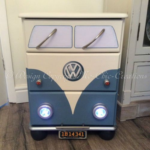 Airforce Blue Retro VW CamperVan Style Chest of Drawers Bedside ...