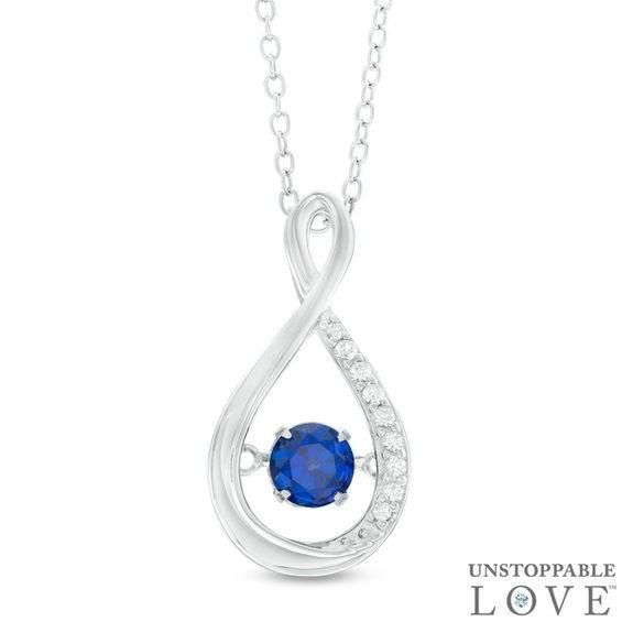 Zales Unstoppable Love 5.0mm Amethyst and Lab-Created White Sapphire Teardrop Pendant in Sterling Silver 8rhmPS9