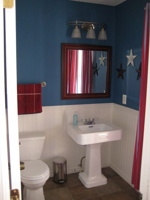 Red White Blue Powder Room Blue Powder Rooms Blue Laundry