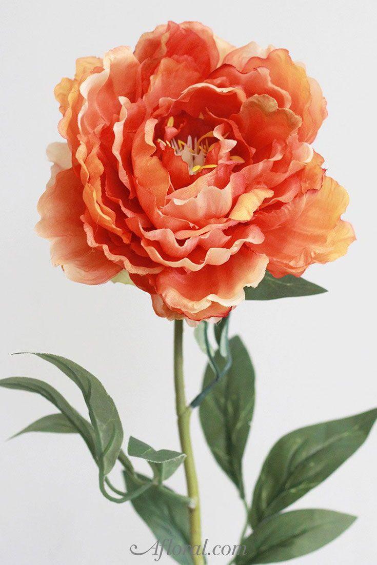Peony Silk Flower Stem In Tangerine Orange 29 Pinterest Silk