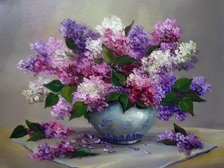 Still Life Nice Vase Leaves Beautiful Freshness Tender Flowers Bouquet Lilac Art Pretty Fragra Lilac Painting Floral Painting Oil Painting Flowers
