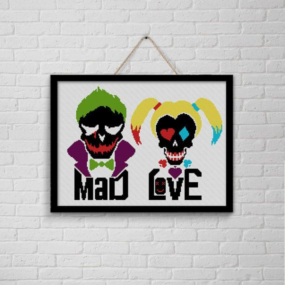 Handmade Batman/'s Joker and Harley Quinn DIGITAL Counted Cross Stitch Pattern