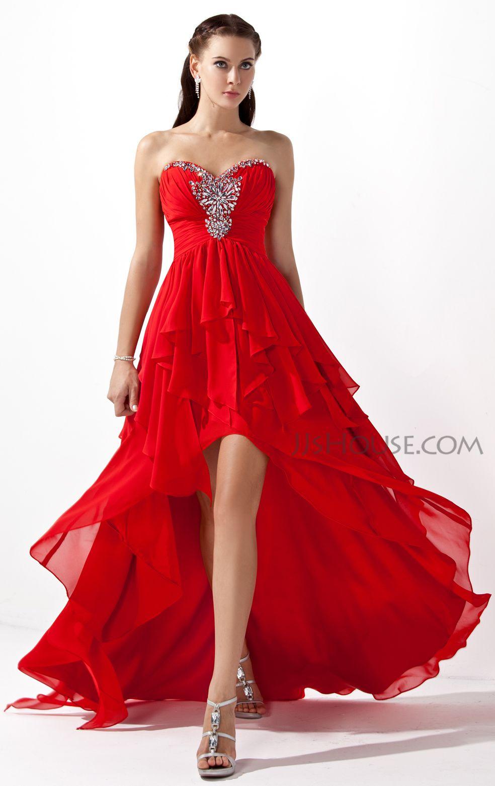 A-Line/Princess Sweetheart Asymmetrical Chiffon Prom Dresses With ...