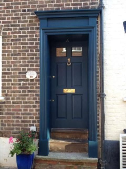 blue front door27 Chic Dark Front Doors To Try For Your Entry  Shelterness