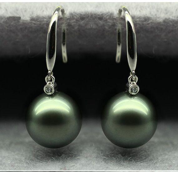 9 10mm Aaaa Tahitian Pearl Earring With 18k White By Fandapearl Tahitian Pearl Earrings Tahitian Pearls Earrings
