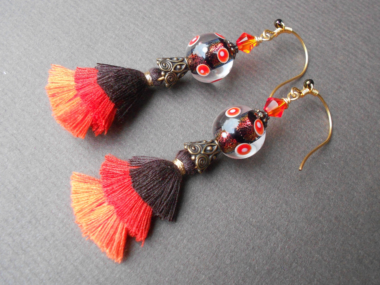 Wing Flower Earrings ~ Black Enamel Millefiori Dangle Earrings
