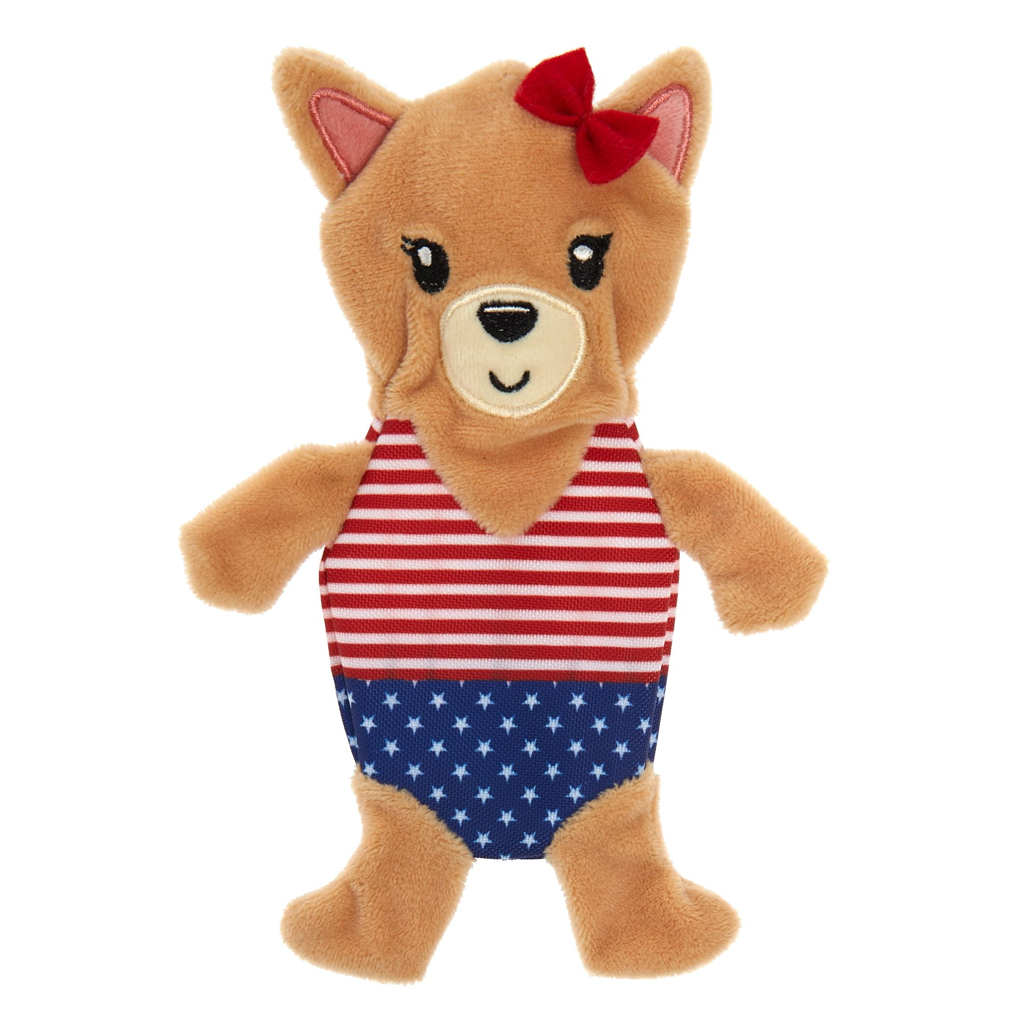 Top Paw Americana Puppy Flattie Dog Toy Crinkle Squeaker Dog
