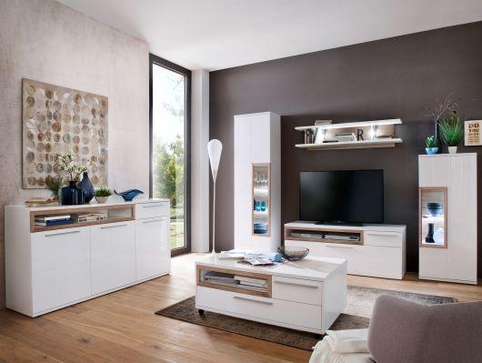 PANORAMA I Wohnwand weiß Eiche Riviera Wohnzimmer Pinterest - wohnzimmer wohnwand weiß