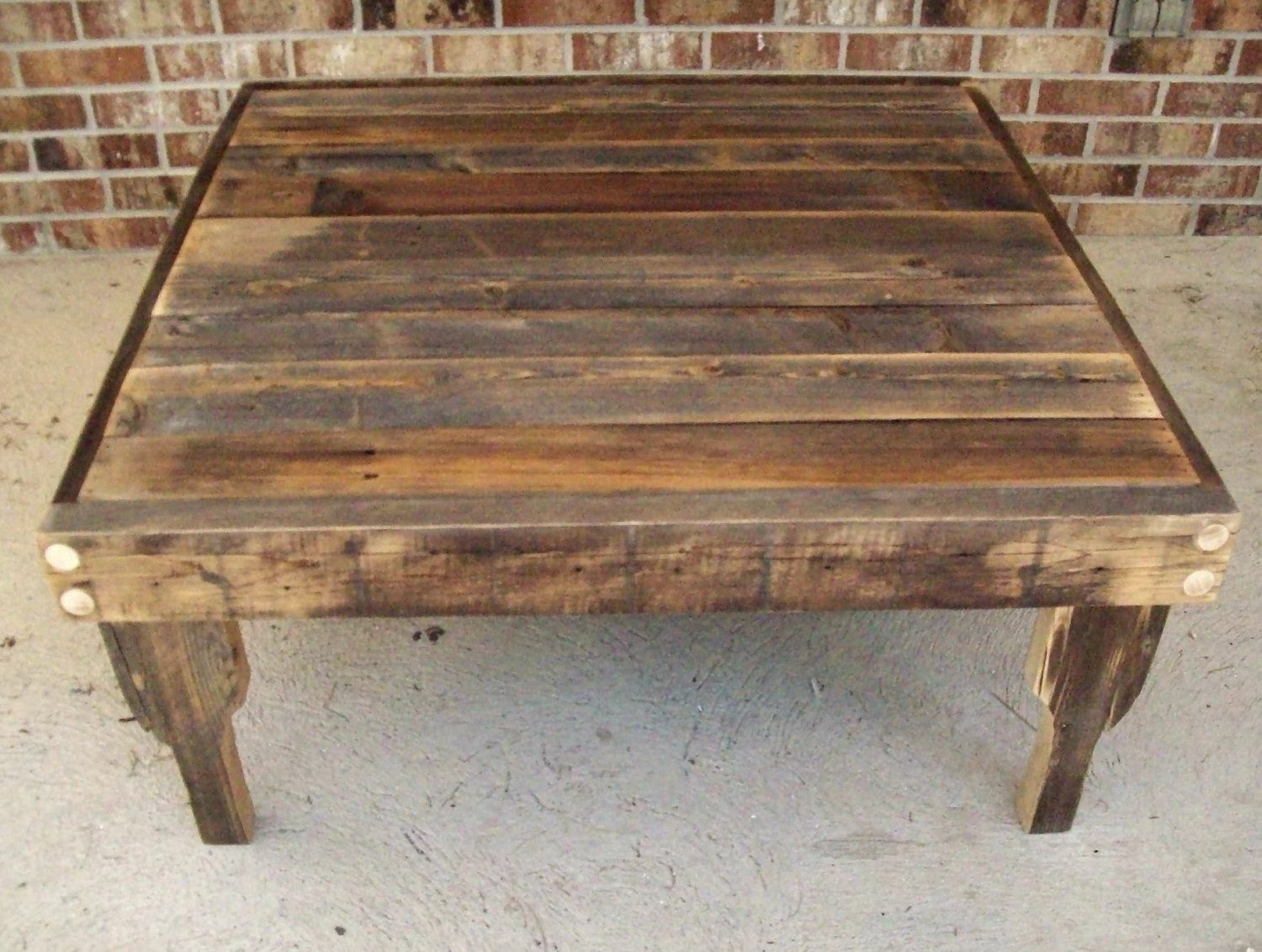 Large Natural Finish Square Reclaimed Fence Wood Coffee Table With Removable Legs 335 00 Via Etsy