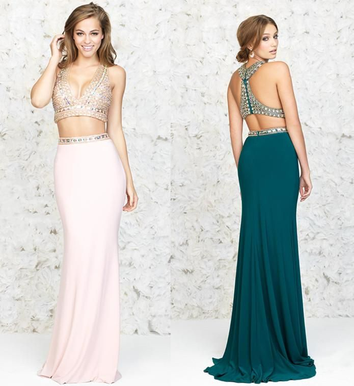Lebanon Two Pieces Prom Dresses 2015 Nude Chiffon Sequined