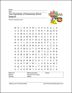 Christmas Symbols Wordsearch, Crossword, and More | Kwanzaa, Word ...