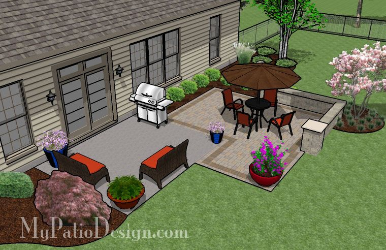 280 sq. ft. - DIY Patio Addition Design with Seat Wall ... on Square Concrete Patio Ideas id=17093