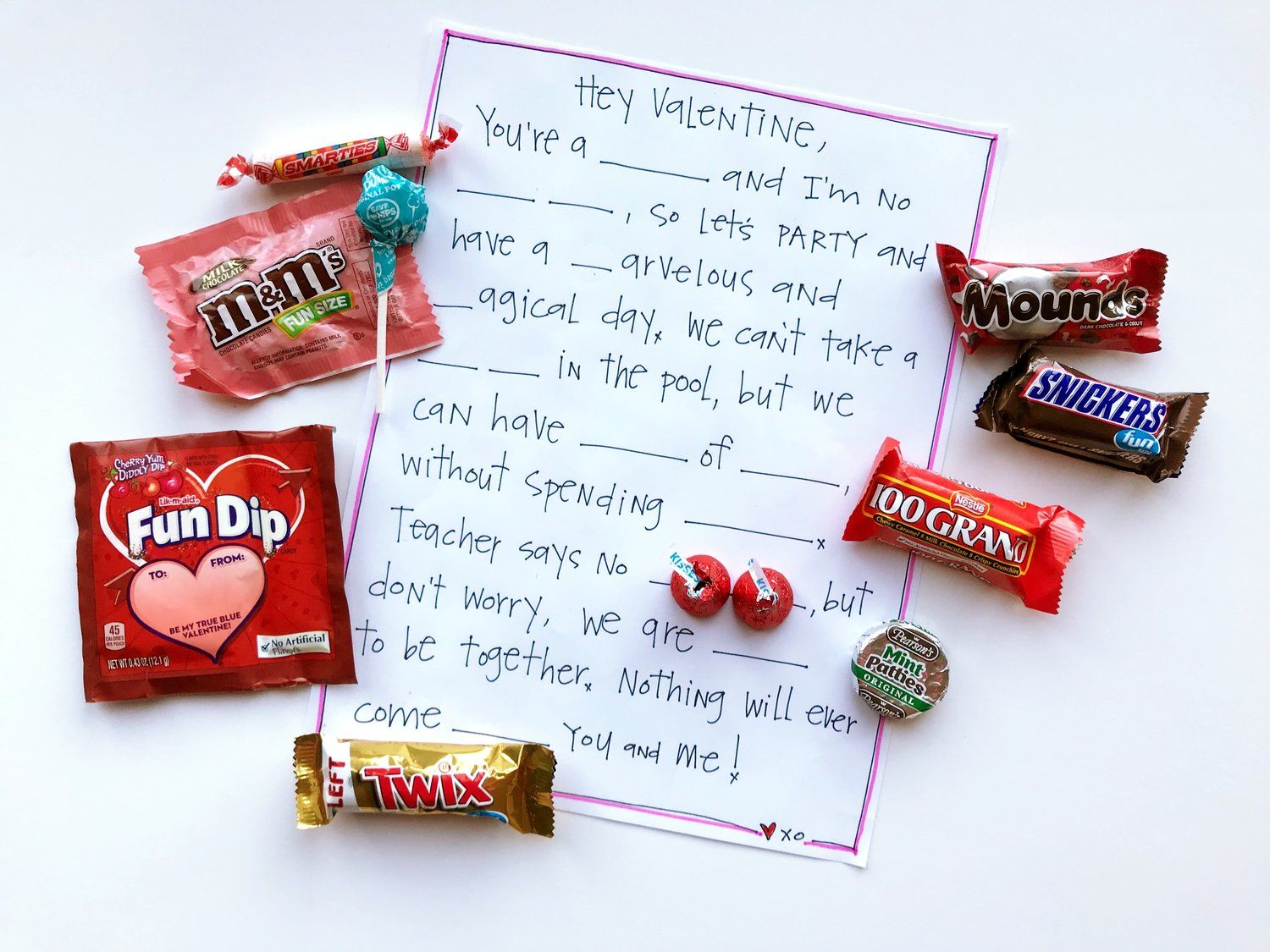 Fill In The Blank Candy Valentine