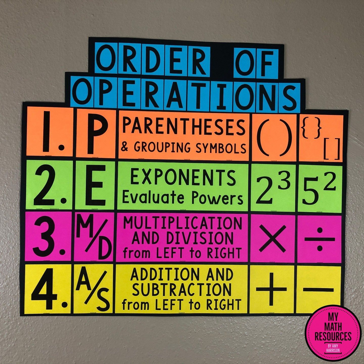 Pemdas Order Of Operations Poster Bulletin Board Amp Anchor
