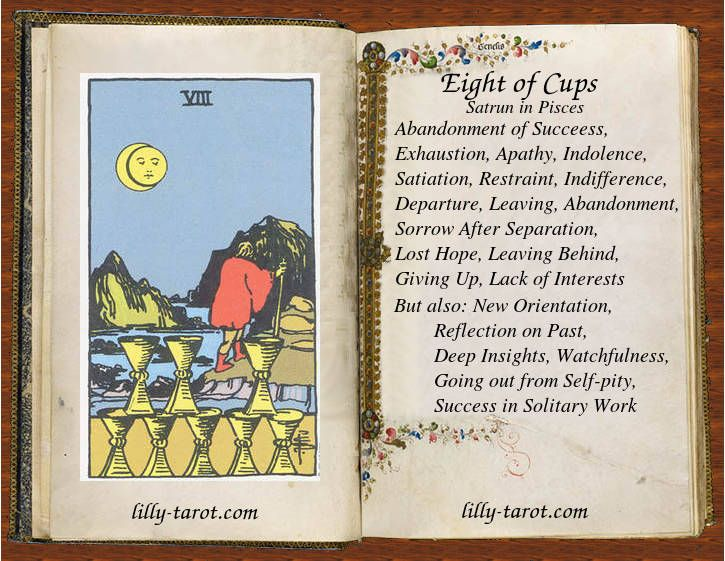 What does the Eight of Cups Tarot card mean for love?