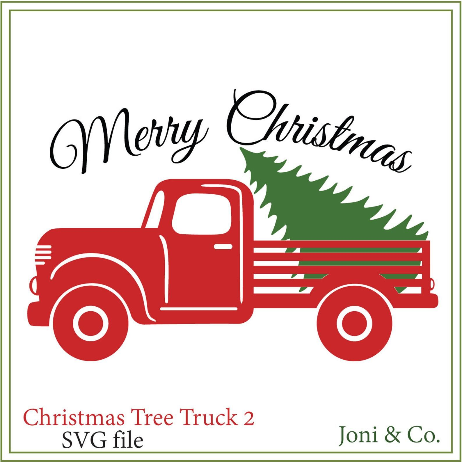 Christmas Tree Truck SVG, Red truck svg, Rustic, Country