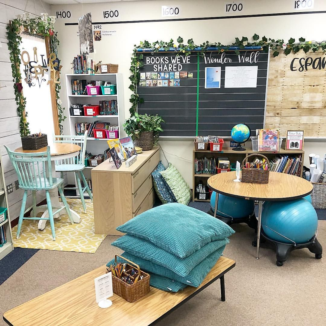 I rearranged the classroom a tad this week and it's AMAZING how much more spacious it feels!  Classroom decor, classroom design, natural classroom, classroom organization, nature themed classroom, calming classroom decor, flexible seating