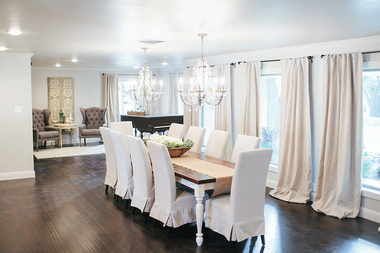 Amazing French Dining Room Features A Pair Of White French Stunning Crystal Dining Room Chandeliers Inspiration Design