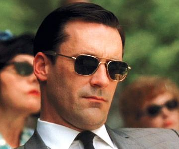 8a603ba4737e Jon Hamm, as Don Draper, wearing Randolph Aviator sunglasses. | ow ...
