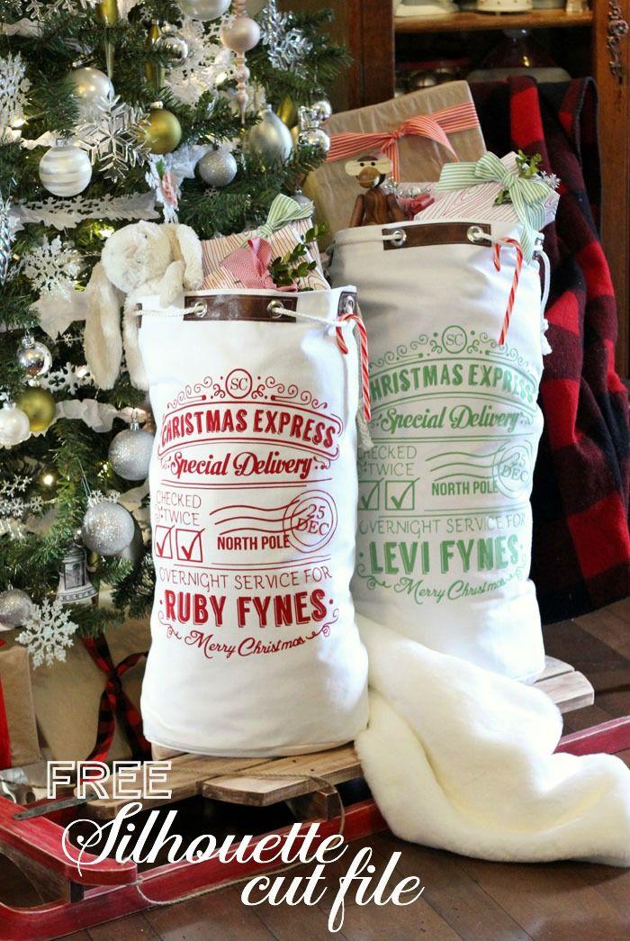 Free Santa Sack Silhouette Cut File | Christmas Ideas | Pinterest ...