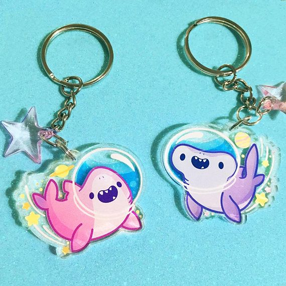 Space Shark Acrylic Keychains   2 5 in Double-Sided Sharks   Cute