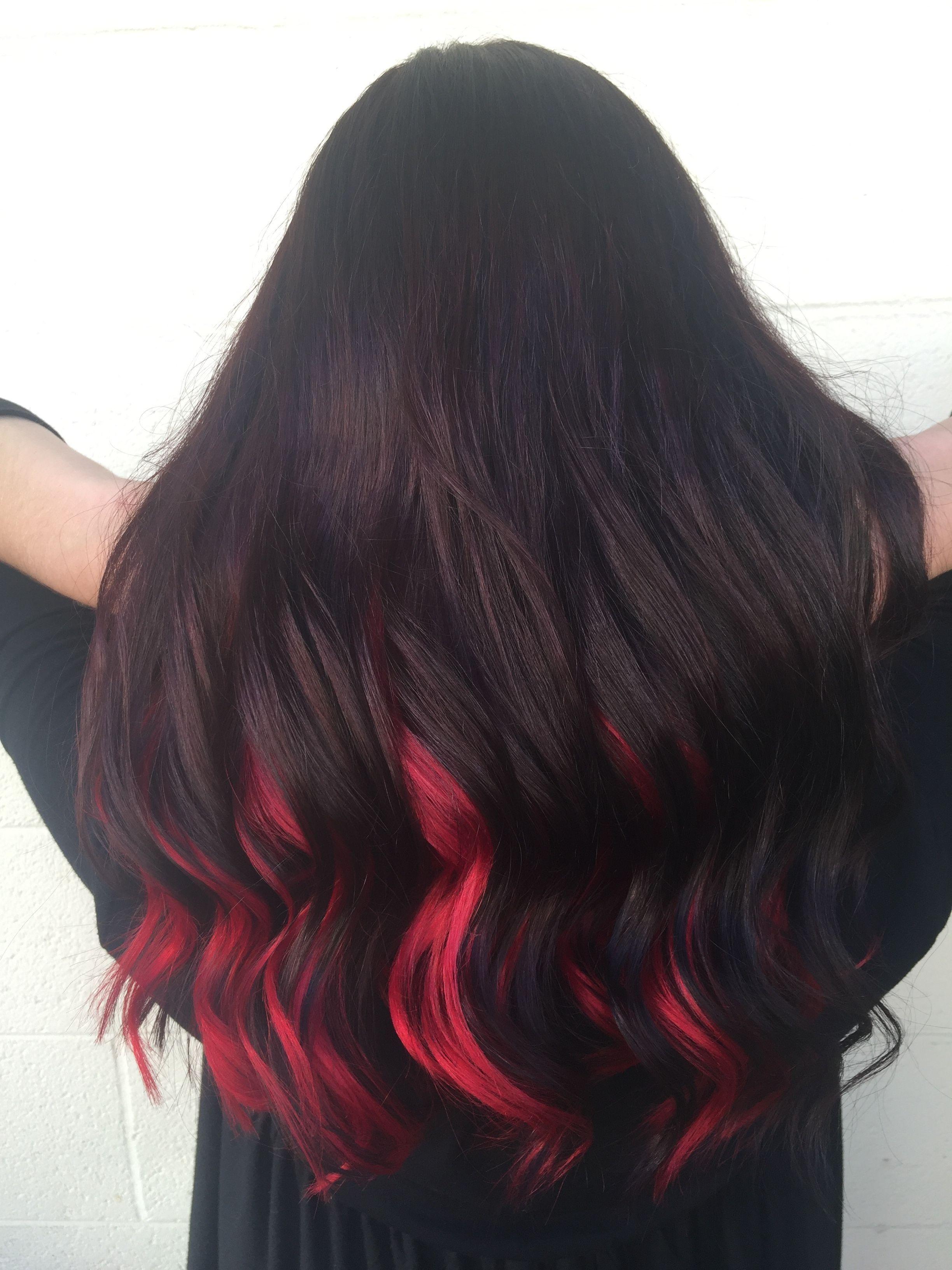 Dark Red Brunette Bright Pravana Red Underneath Fall Hair Matrix Color Savys Dark Red Br In 2020 Black Red Hair Red Hair Underneath Hair Color For Black Hair