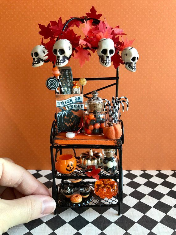 Miniature bakers rack, Halloween dollhouse furniture, 1:12 scale miniature candies #haunteddollhouse