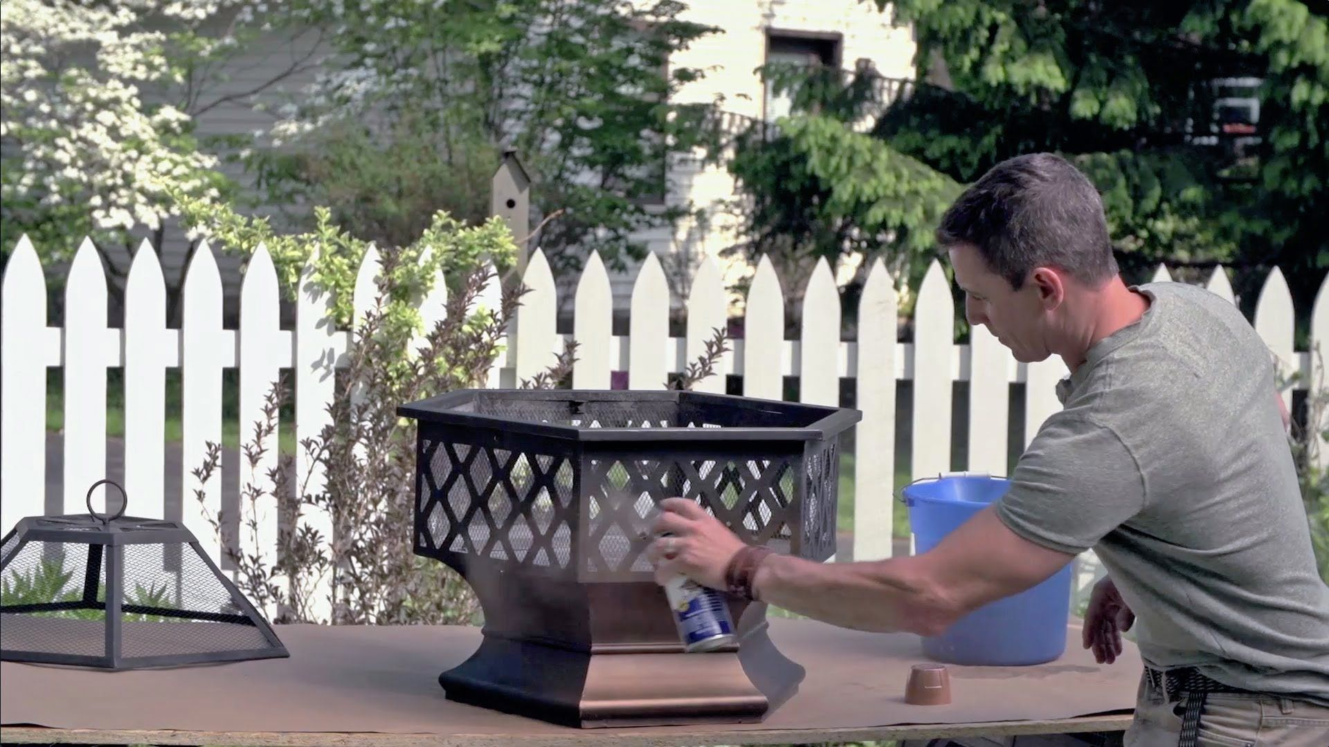How To Spray Paint A Metal Fire Pit Featuring High Heat Max By Krylon Metal Fire Pit Fire Pit Australia Concrete Fire Pit Patio