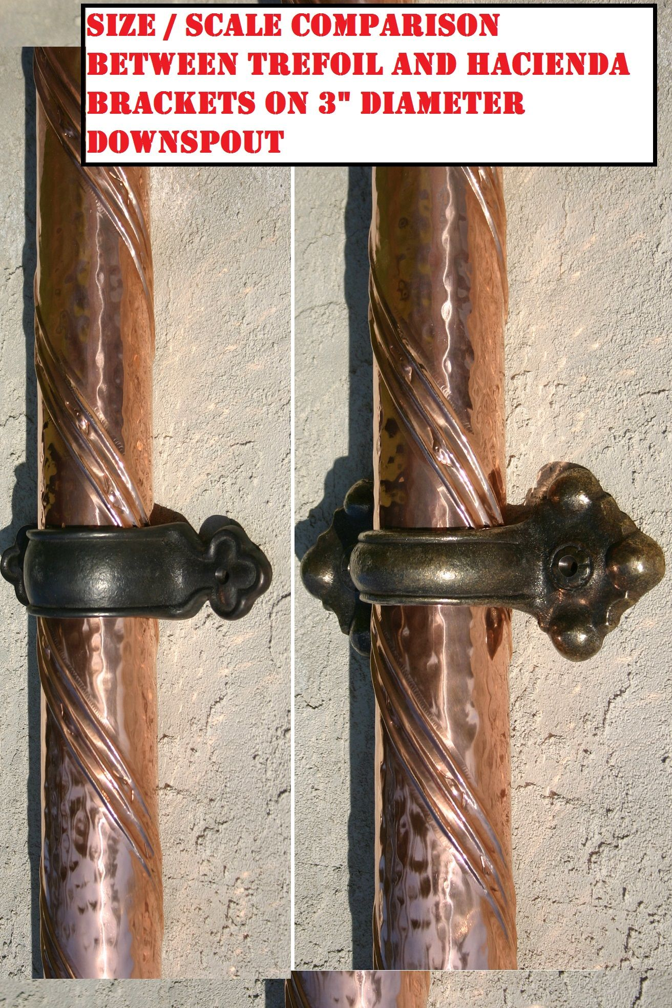 Hand Forged 3 Copper Downspout And Solid Brass Downspout Brackets By Custom Copper Works Metal Roof Diy Awning Copper Gutters