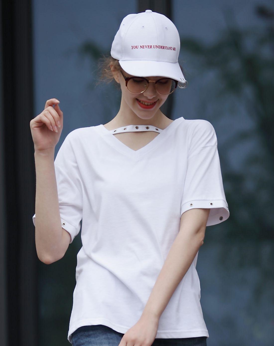 #AdoreWe #VIPme T-Shirts❤️Designer Qigirl White V Neck Cut Out Plain Cotton T-Shirt - AdoreWe.com