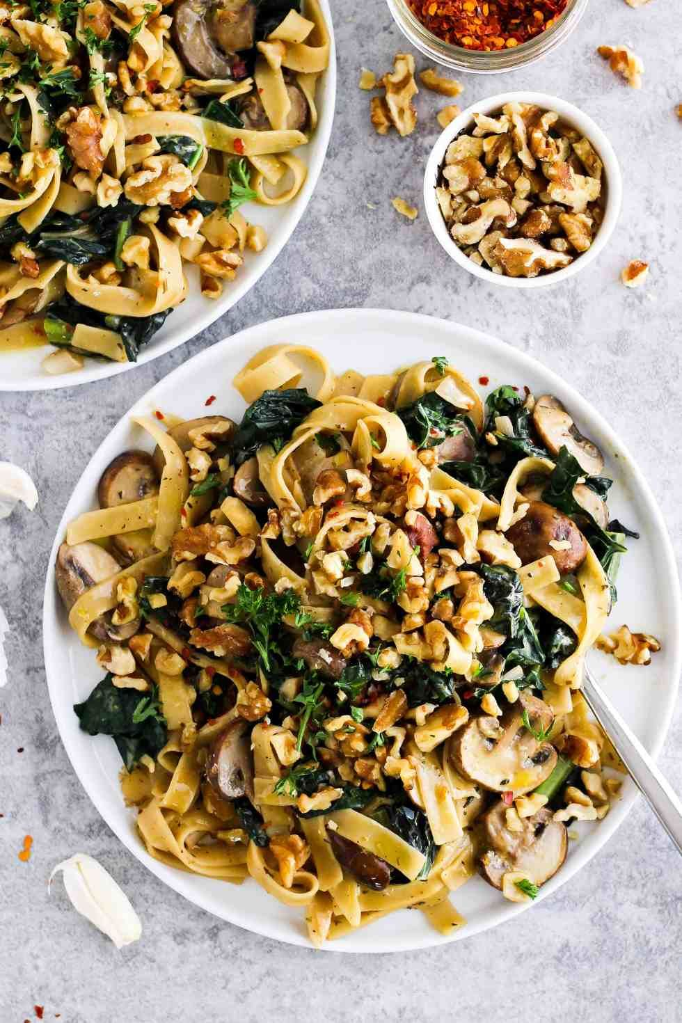 Creamy Vegan Pasta Mushroom Kale Walnut Noodles Recipe Recipe Vegan Pasta Creamy Vegan Pasta Kale Recipes Vegan