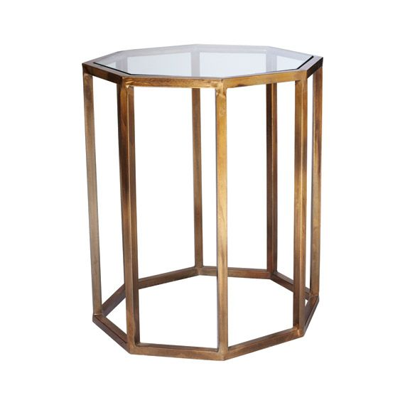 Beau Octagon Side Table, Small   Antiqued Brass, Glass   490/490/600   Living    Okadirect.com