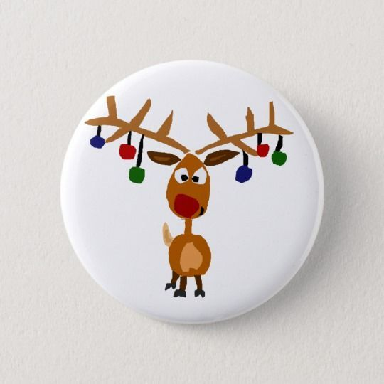 Noel Christmas Deer with Flowers Pinback Button Pin