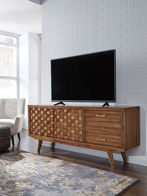 Chiladda Warm Brown Extra Large Tv Stand Large Tv Stands Small Media Cabinet Furniture