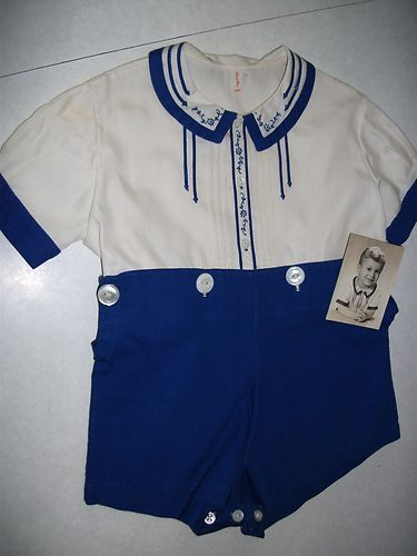 1940 2 Piece Baby Boy Romper with Embroidered and Tucked Trim ...