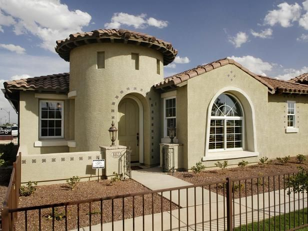 Small Inviting Mediterranean Home Exterior Pro Galleries Hgtv Remodels House Color