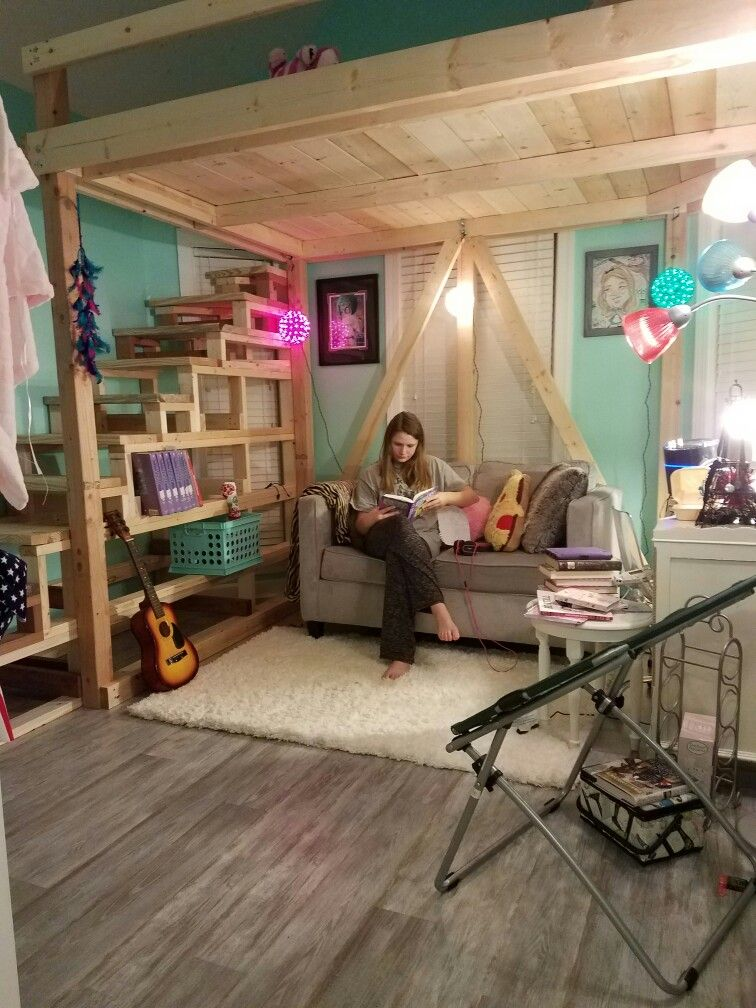 Tween Girls Loft Bedroom My Husband Built This With Storage Under The Steps And Baskets Under The Stairs Not Girls Loft Bedroom Girls Loft Bed Dormitory Room