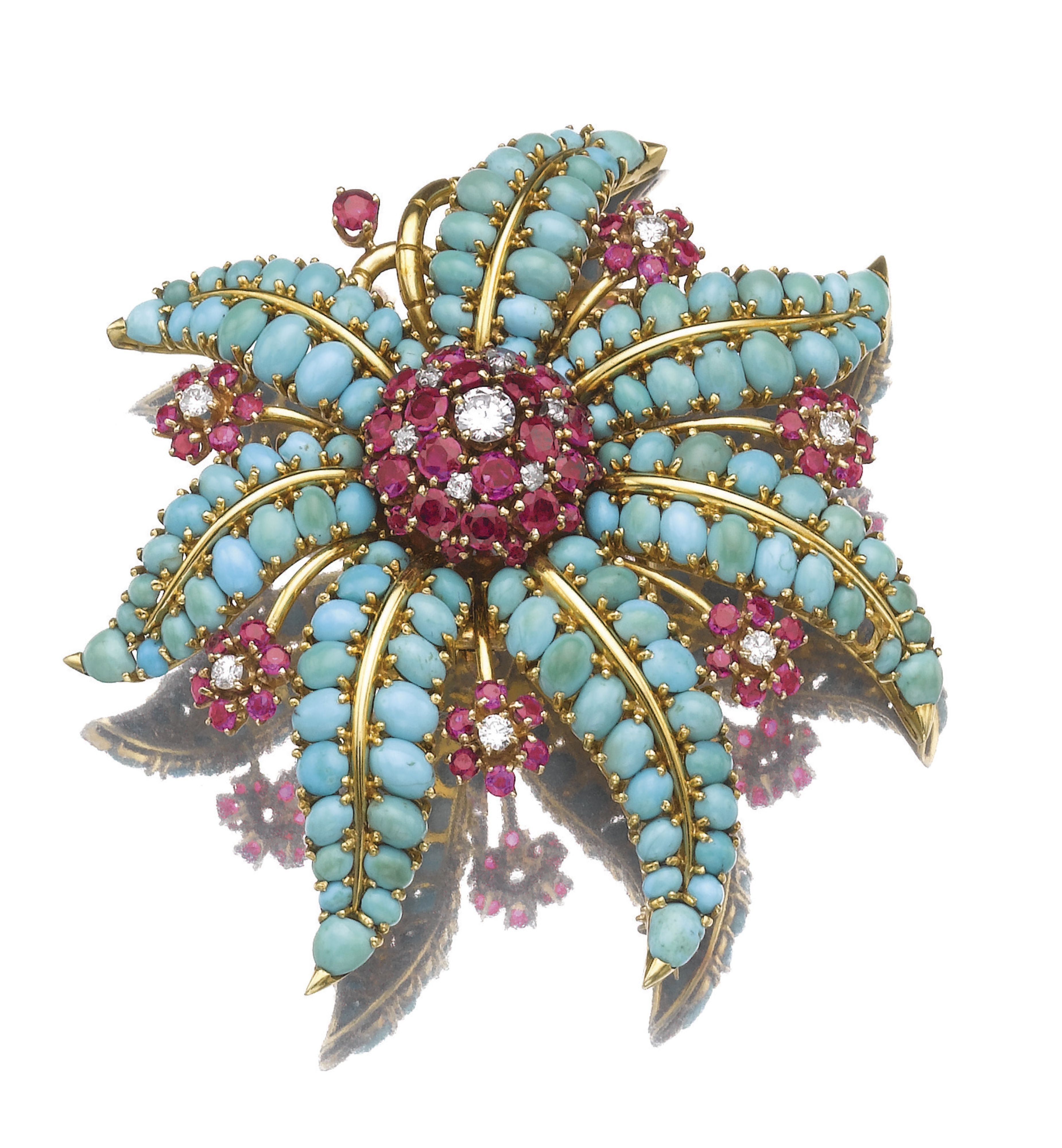 John Rubel, 1940s - turquoise, ruby and diamond brooch