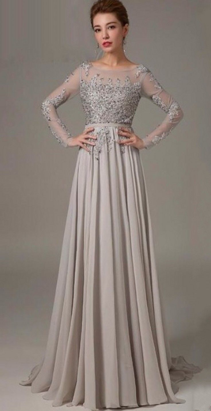 Full length Sexy Open Back Long Sleeves Silver Lace Evening Dress