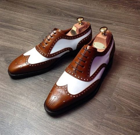 handmade men's white  brown color leather shoes stylish