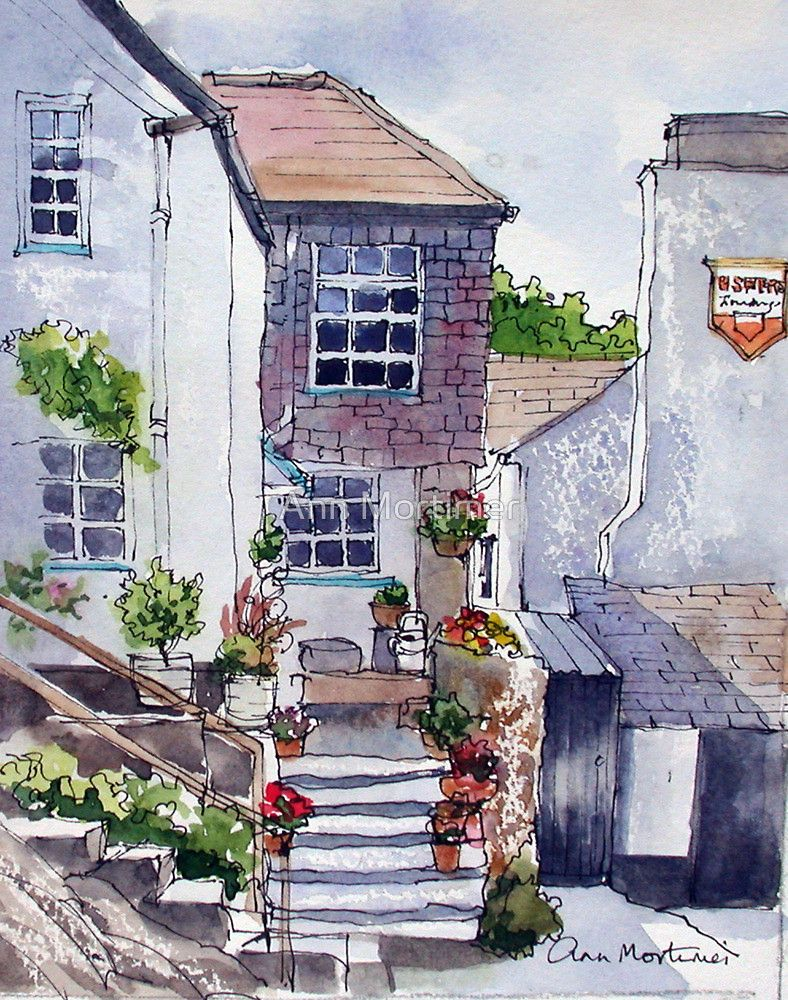 Polperro cottage by ann mortimer sketchbook journals for Architektur aquarell