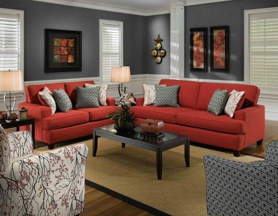 Comfy Living Room With Modern Stylish Red Sofa And White And Grey Motifs For Armchairs With Black C Red Couch Living Room Red Sofa Living Room Living Room Grey