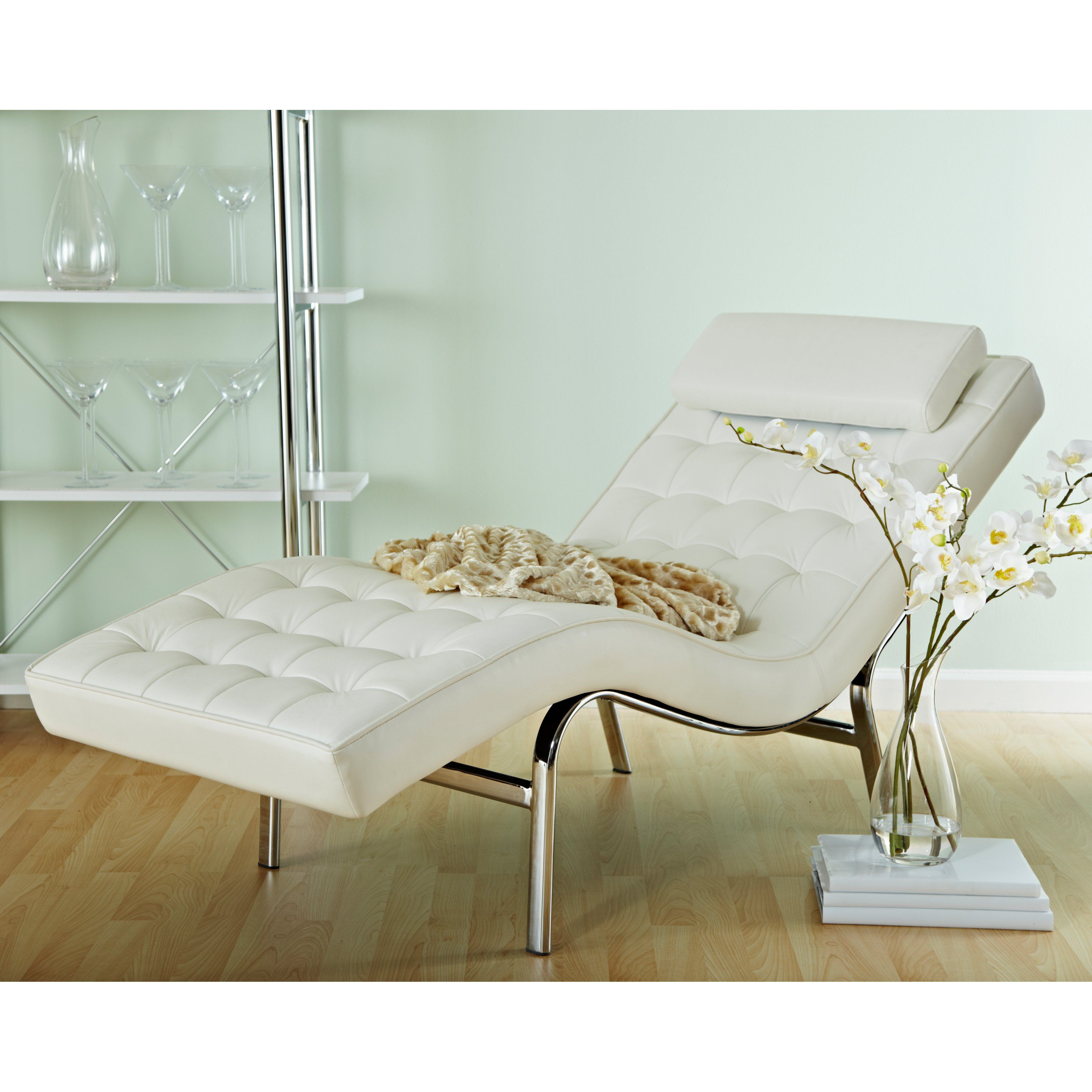 Euro Style Valencia Leather Chaise Lounge From Hayneedle